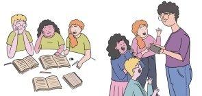 Ilustração de uma professora conversando com os alunos e outro grupo de alunos sentados lendo