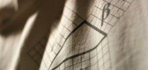 Teorema de Pitágoras escrito em um tecido