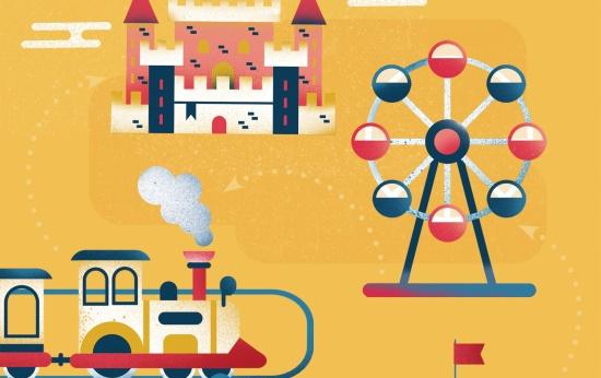 Ilustração de um homem voando com balões, uma roda gigante, um castelo, um carrossel e um trenzinho