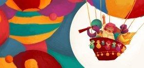 Ilustração colorida com pessoas em um balão