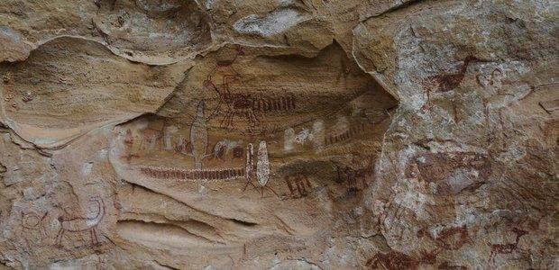 Pintura rupestre na Serra da Capivara | Crédito: Divulgação