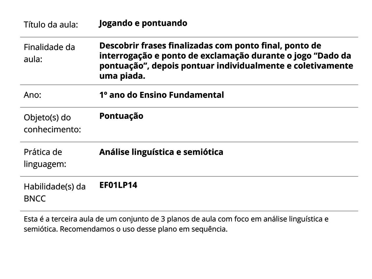 Jogando E Pontuando Planos De Aula 1º Ano Língua Portuguesa