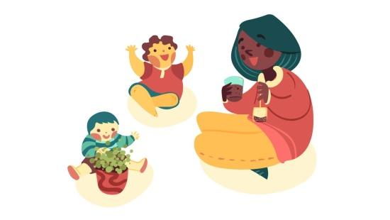 Experimentando chás com os bebês