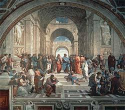 Platão no centro de Escola de Atenas, afresco de Rafael no Vaticano: absorção pela Igreja. Foto: Alinari Archives/Corbis /Stock Photos