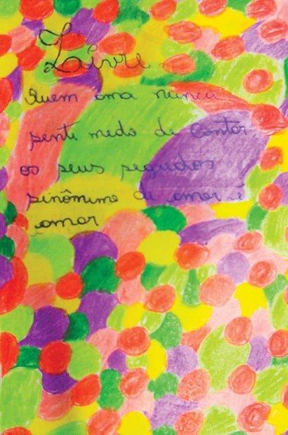 O uso de poemas é uma das características das obras da artista explorada pela turma. Arquivo pessoal/Isabel de Sá e Sirlene Rodrigues