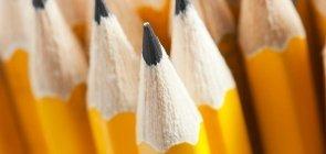 Lápis amarelos apontados dão a ideia de união
