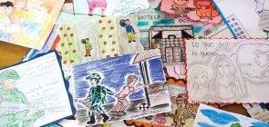 Desenhos de alunos que refletem a violencia