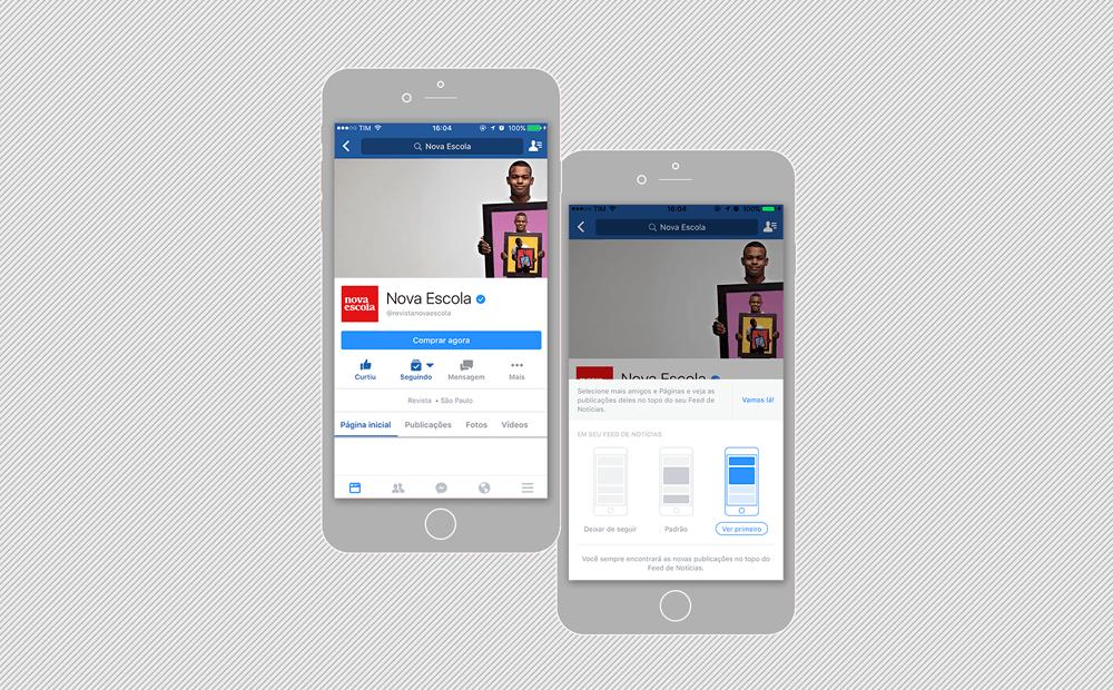 """Reprodução da fan page da nova escola no facebook na celular com a indicação de clicar em """"seguindo"""" e """"ver primeiro"""""""