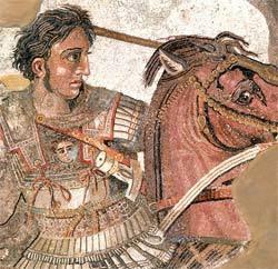 Mosaico romano representa Alexandre em batalha: aluno rebelde de Aristóteles. Foto: Araldo de Luca/Corbis /Stock Photos