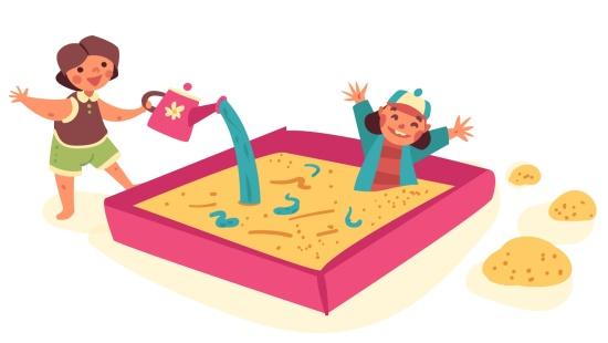 Brincando com água no tanque de Areia