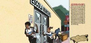 Ilustração de crianças saindo da escola correndo por conta da violência