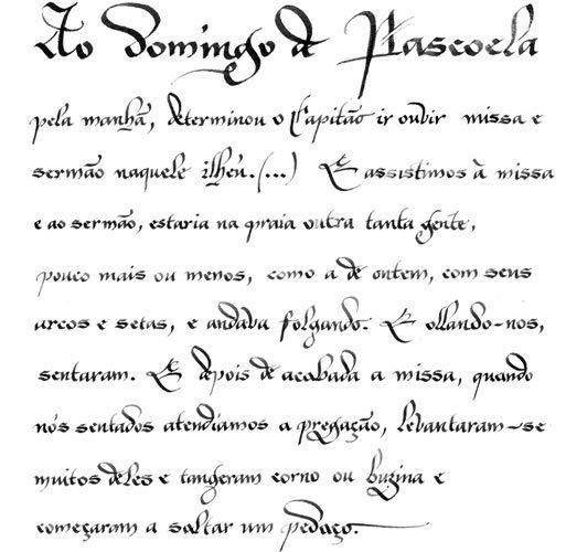 Trecho da carta de Pero Vaz de Caminha. Ilustração: Cláudio Gil