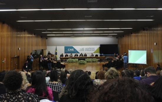Foto do auditório do CNE, onde aconteceu a audiência pública. Vê-se um pedaço da plateia de costas e a mesa no palco composta por membros do CNE e do MEC