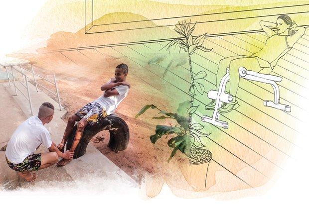Os alunos trabalharam o abdômen com o uso de meio pneu preso ao chão. Fotos: Arquivo pessoal/Fernando de Freitas. Ilustração: Melissa Lagoa