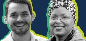 Banner do programa Ponte de Talentos com duas pessoas sorrindo em foto preto e branco e fundo azul