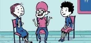 Ilustração de Tiago Elcerdo mostra crianças conversando