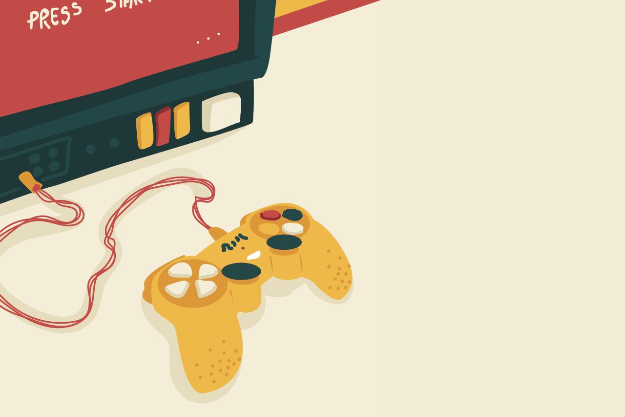 Ilustração de Duda Oliva sobre games