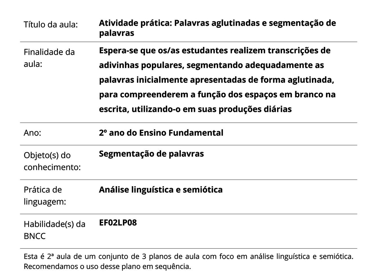 Plano De Aula 2º Ano Língua Portuguesa Atividade Prática