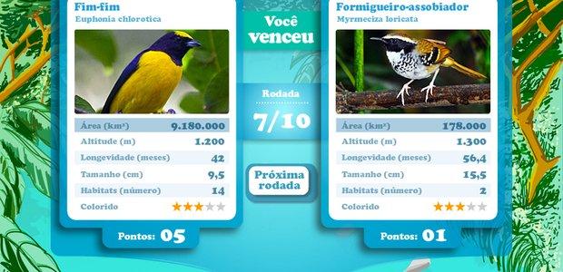 Jogo de cartas do tipo supertrunfo sobre aves do Brasil