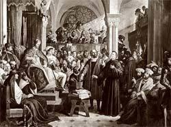Lutero (de batina escura) é ouvido por Carlos V na Dieta de Worms: religião como assunto de Estado. Foto: Getty Images