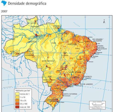 Figura 3: Mapa da densidade demográfica do Brasil. Nota-se que a maior parte da população está localizada a leste, próximas das áreas litorâneas. FONTE: www.ibge.gov.br/ibgeteen/mapas