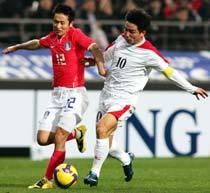 Coreia do Norte e do Sul se enfrentam pelas eliminatórias da Copa do Mundo. Foto: AFP