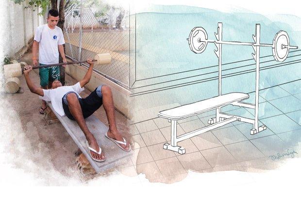 Com o peso construído, os estudantes fizeram supino para trabalhar os músculos peitorais. Fotos: Arquivo pessoal/Fernando de Freitas. Ilustração: Melissa Lagoa