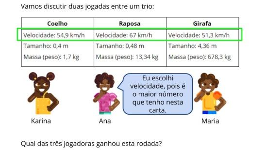 """Comparação de Números decimais: Jogo Super Trunfo """"Animais"""""""