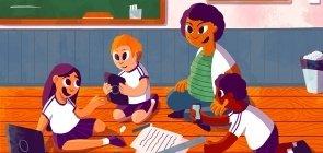 Ilustração de três crianças sentados no chão em roda com a professora. No chão, há diversos materiais, como papel e tesoura