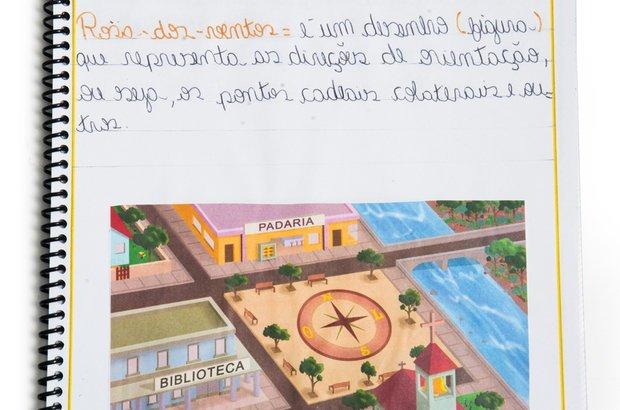 Conteúdos importantes entraram no dicionário dos alunos, que os descreviam à sua maneira. Suellen Martins, por exemplo, escreveu sobre a rosa dos ventos, estudada na etapa em que todos debateram orientação. Roberto Chacur