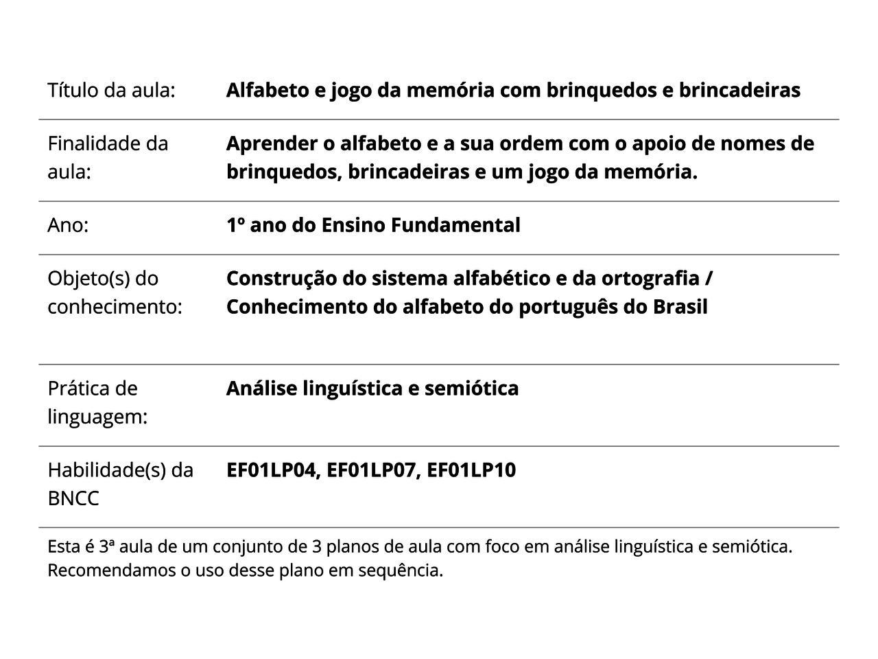 62b2786eb Plano de Aula - 1º ano - Língua Portuguesa - Alfabeto e jogo da ...
