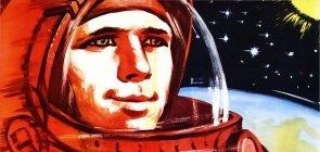 Cartaz celebra as conquistas espaciais da Rússia