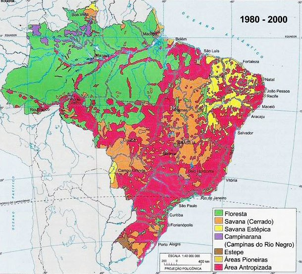 Mapa 2 - Cerrado - retração da vegetação nativa. Fonte: IBGE. Atlas geográfico escolar. Rio de Janeiro: IBGE, 2004, p. 110.