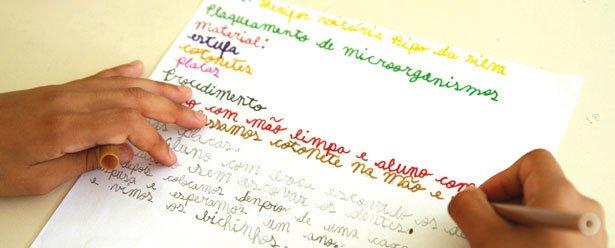 PASSO A PASSO Na EE Marilene Terezinha Longhim, ao produzir textos instrucionais, a turma organiza informações. Foto: Raoni Maddalena