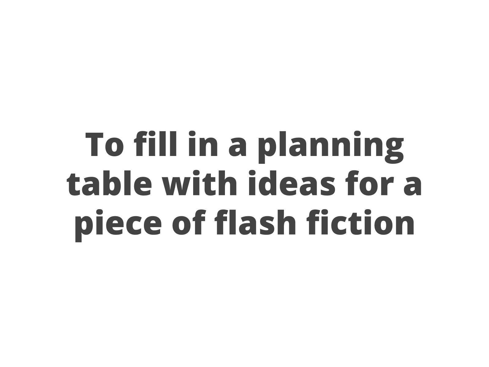 Planejando um microconto
