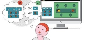 Ilustração de uma pessoa pensando em combinação de comandos para programação