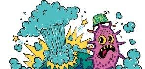 Ilustração de uma explosão na terra e um parasita voando para longe