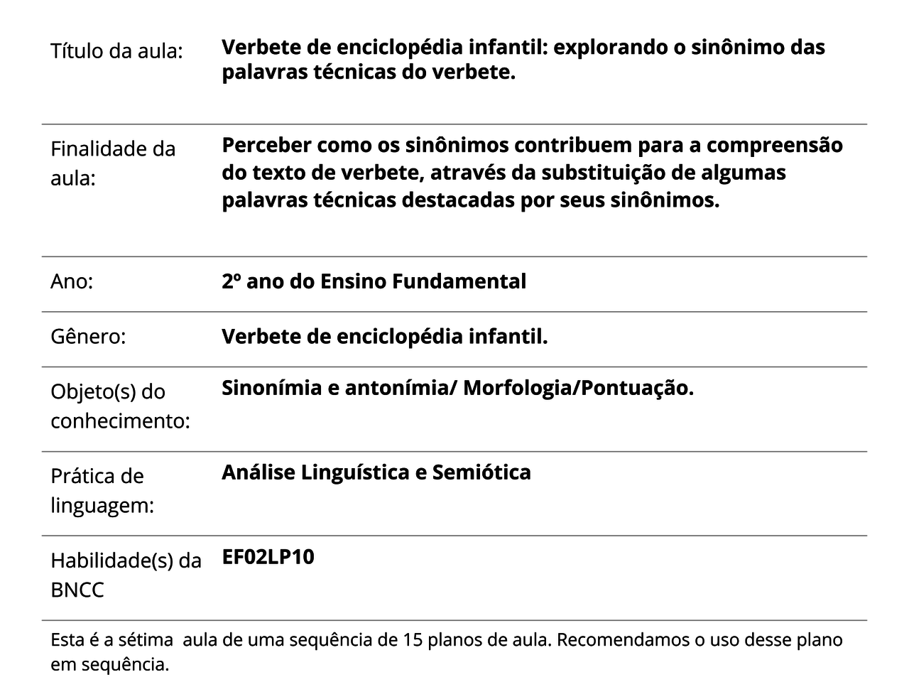 Plano De Aula 2º Ano Língua Portuguesa Verbete De