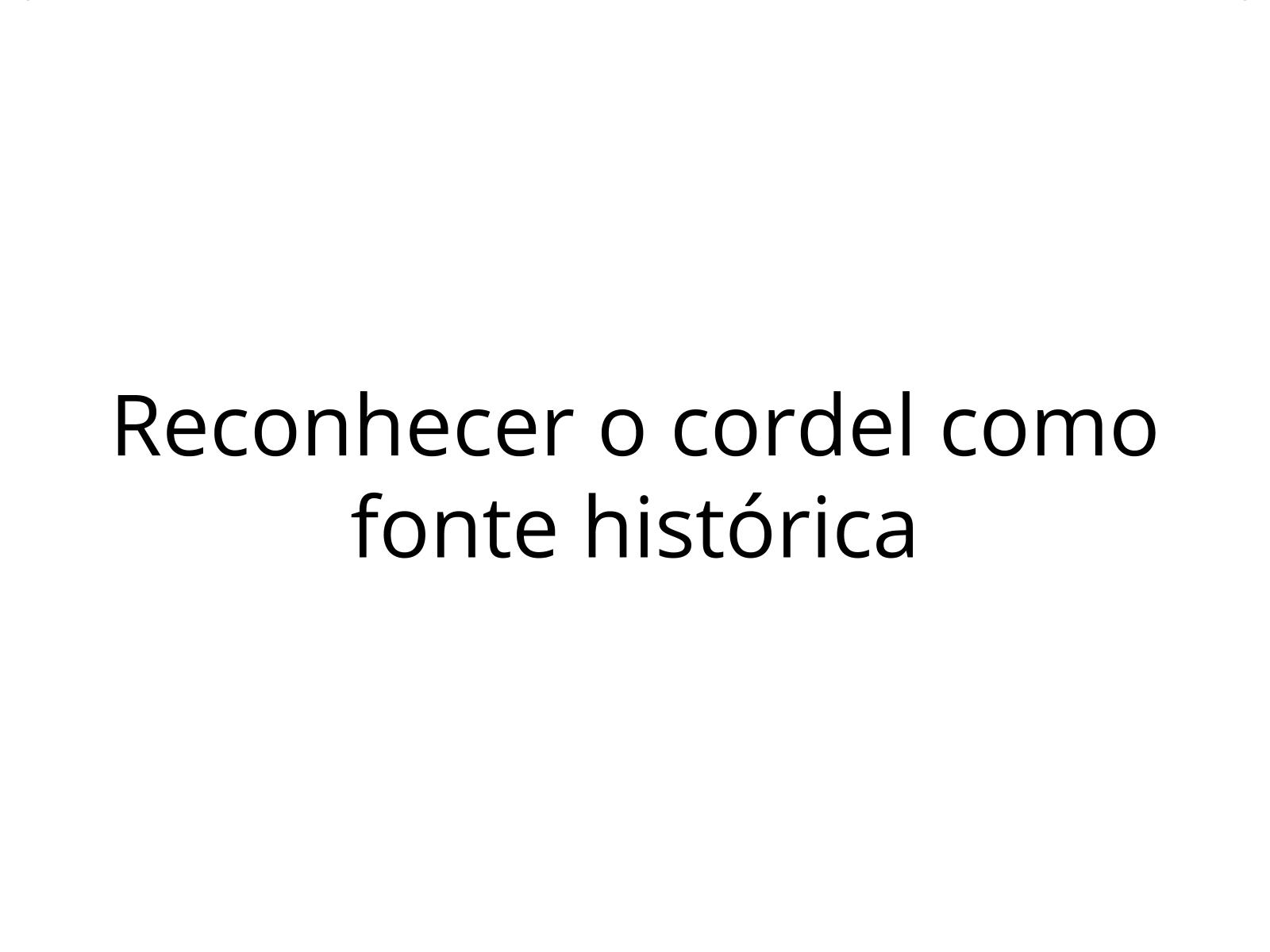 Literatura de cordel  como fonte histórica