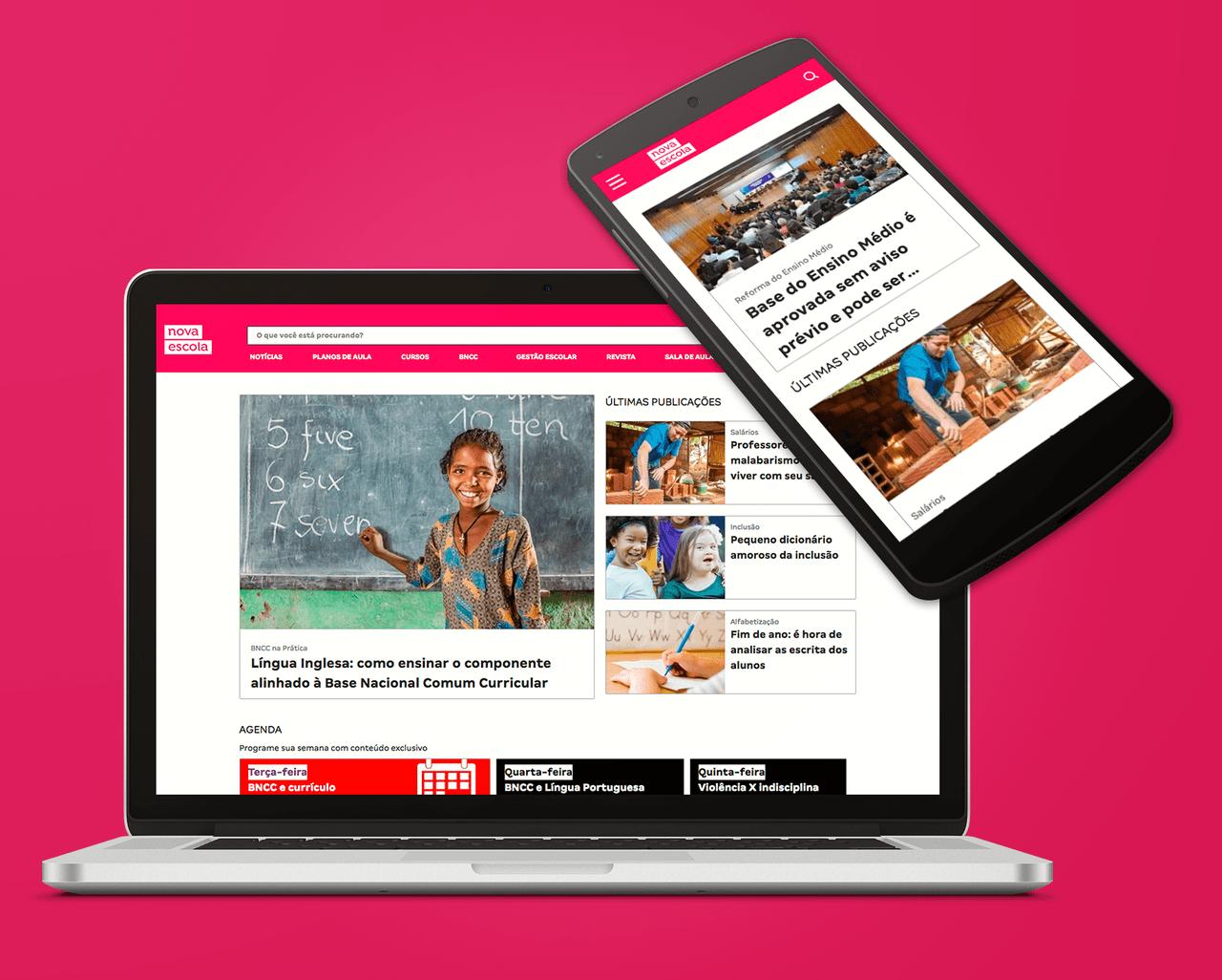 Novo site da NOVA ESCOLA exibido em um laptop e um celular (ilustração)