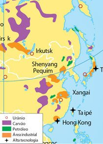 Na Ásia setentrional, em que há o predomínio de laranja e roxo, eles identificaram uma área industrial e rica em carvão. Fonte Atlas geográfico: espaço mundial, Graça M. L. Ferreira, Ed. Moderna, 2003