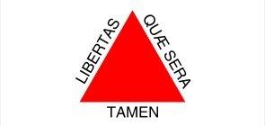 Bandeira branca com um triângulo vermelho no meio e escrito