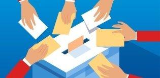 Ilustração de uma urna e várias mãos colocando seus votos nela