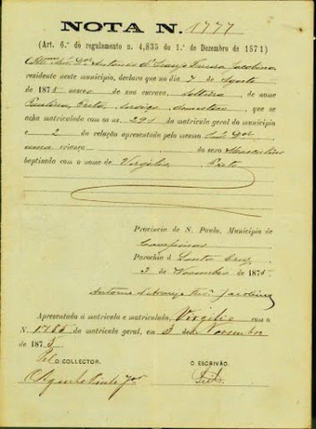 Declaração de nascimento do filho de escravos Virgílio, em 1873, dois anos depois da promulgação da Lei Rio Branco, mais conhecida como Lei do Ventre Livre, em 28 de setembro de 1871. (Reprodução Fundação Casa de Rui Barbosa/Arquivo)