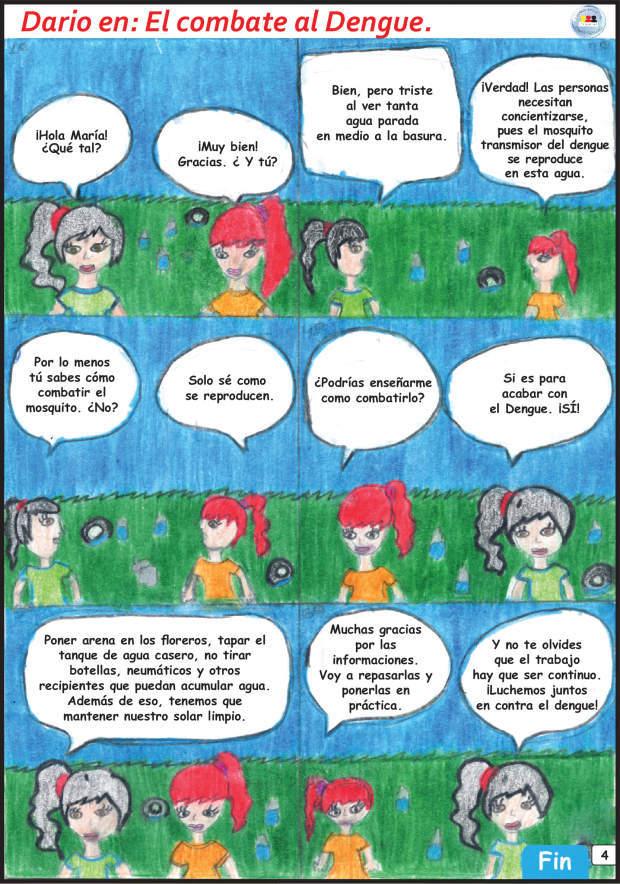 Mesmo sem dominar o espanhol, os alunos escreveram e ilustraram vários quadrinhos. Reprodução