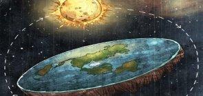 Ilustração mostra como seria a terra plana no sistema solar