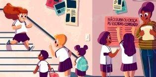 Ilustração de crianças andando pela escola
