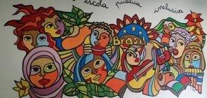 Pintura na entrada do EMEF Infante Dom Henrique, em São Paulo: acolhimento a alunos imigrantes