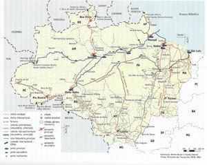 Mapa 1 - Amazônia Legal: logística de transportes - 2006. Fonte: BECKER & STENNO, p. 86.