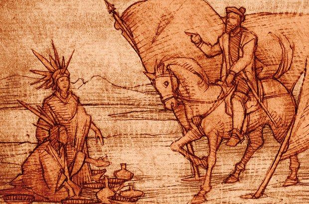 A turma observou a postura de domínio do colonizador sobre os nativos da América Central. Sandro Castelli